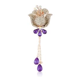 Broszka lilia - fiolet - 10cm BR528