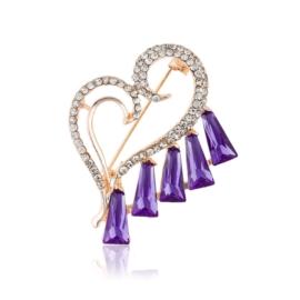 Broszka serce - fiolet - 4,5cm BR541