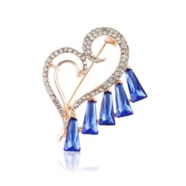 Broszka serce - kobalt - 4,5cm BR545