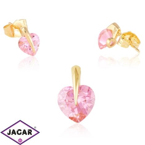 Komplet biżuterii - różowe serce - Xuping PK507