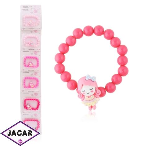 Bransoletka różowa z dziewczynką - BRA1432