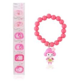 Bransoletka różowa z dziewczynką - BRA1434