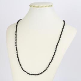 Naszyjnik perła czeska czarna 60cm - PER490