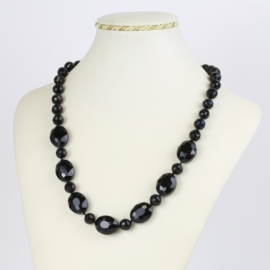 Naszyjnik perła czeska czarna - PER491