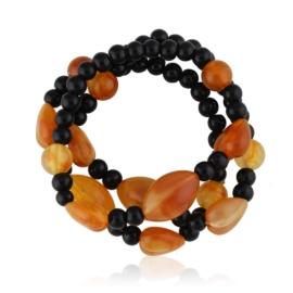 Bransoletka potrójnie zawijana - amber - BRA1444