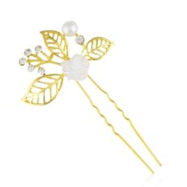 Złota kokówka z kryształkami - 8,5cm - SZPIL92