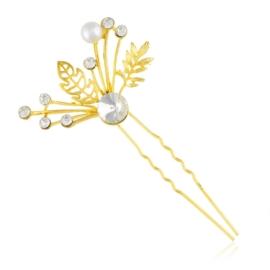 Złota kokówka z kryształkami - 8,5cm - SZPIL93