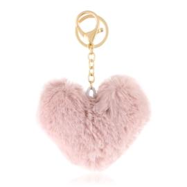 Brelok - futerkowe serce - brudny róż - PU227