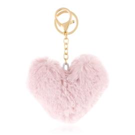 Brelok - futerkowe serce - pudrowy róż - PU230
