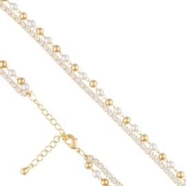 Bransoletka podwójna z perełek - Xuping BP5489