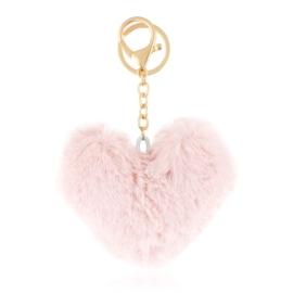 Brelok - futerkowe serce - jasny róż - PU232