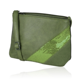Zielona torebka z cekinową aplikacą 30x19cm TD374