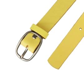 Pasek skórzany damski - Żółty - 3cm - BL40