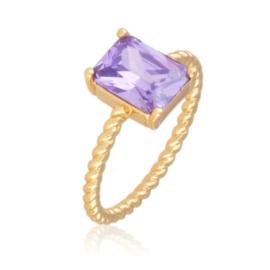 Pierścionek prostokątny - violet - Xuping PP2518
