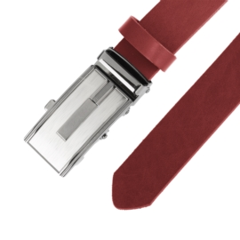 Pasek skórzany męski - Bordowy 3cm - BLM167