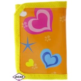 Portfel dziecięcy-żółty w serca 11cmx7cm P1073