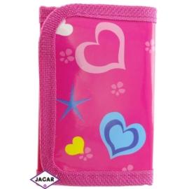 Portfel dziecięcy-różowy w serca 11cmx7cm P1075