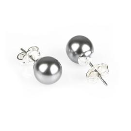 Kolczyki czeskie perła szara błysk. 0,8cm - EA2688