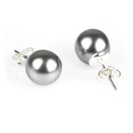 Kolczyki czeskie perła szara błysk. 1cm - EA2689