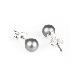 Kolczyki czeskie perła szara matowa 0,6cm - EA2691