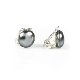 Klipsy czeskie szara perła błysk. 1,2cm - EA2693