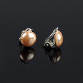 Klipsy czeskie łososiowa perła błysk.1,2cm EA2693
