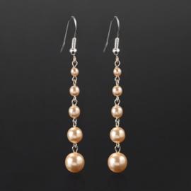 Kolczyki czeskie łososiowa perła 8cm - EA2697