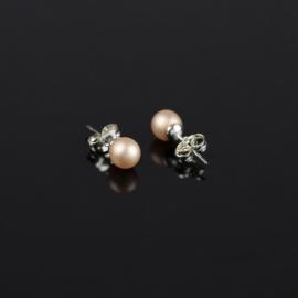 Kolczyki perła łososiowa matowa 0,6cm - EA2698