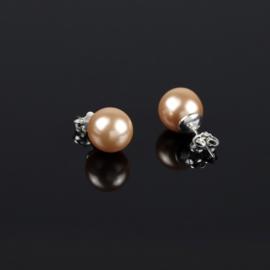 Kolczyki czeskie łosoś. perła błysk.1cm EA2699