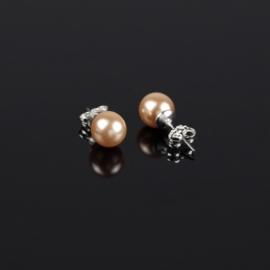 Kolczyki czeskie łosoś. perła błysk. 0,8cm EA2700
