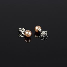 Kolczyki czeskie łosoś. perła błysk.0,6cm - EA2701
