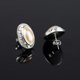 Kolczyki perła czeska ecru - crystal 48/12 EA2715