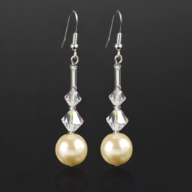 Kolczyki wiszące czeskie perła ecru 53/148 EA2716