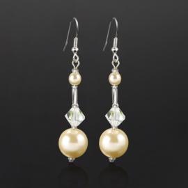 Kolczyki wiszące czeskie perła ecru 53/148 EA2717