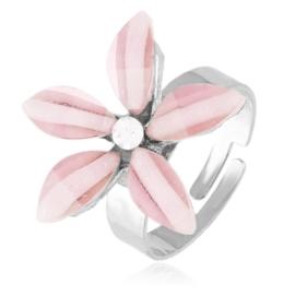 Pierścionek z regulacją różowy kwiatuszek PIER111