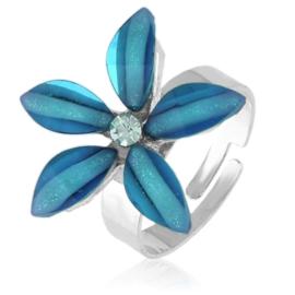Pierścionek regulacja niebieski kwiatuszek PIER112