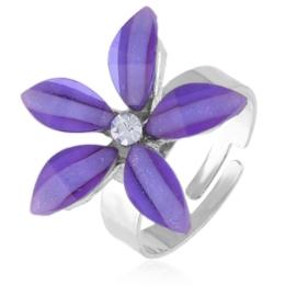 Pierścionek regulacja fioletowy kwiatuszek PIER115