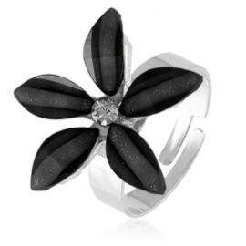 Pierścionek z regulacją czarny kwiatuszek PIER129