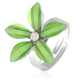 Pierścionek z regulacją j.zielony kwiat PIER130