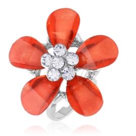 Pierścionek z regulacją czerwony kwiat - PIER132
