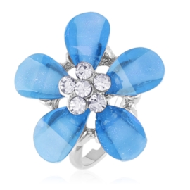 Pierścionek z regulacją niebieski kwiat - PIER133