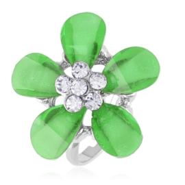 Pierścionek z regulacją zielony kwiat - PIER135