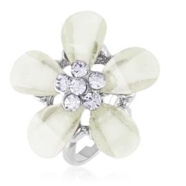 Pierścionek z regulacją biały kwiat - PIER136