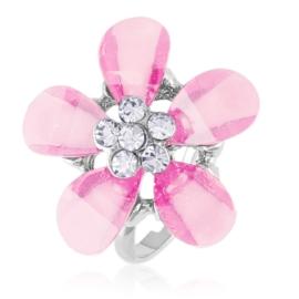 Pierścionek z regulacją różowy kwiat - PIER137