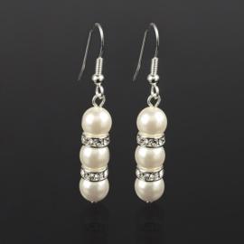 Kolczyki perła ecru 2rondle stopniow.50/150 EA2814