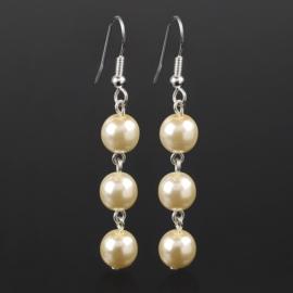 Kolczyki wiszące czeska perła ecru 53/208 EA2816