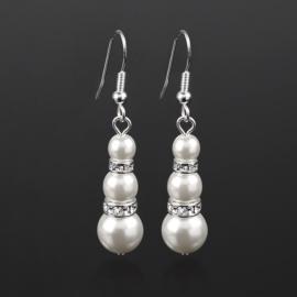 Kolczyki perła biała 2rondle stop. 50/150 EA2821