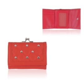 Portfel damski z ćwiekami - czerwony - P1146