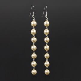 Kolczyki wiszące czeskie perła ecru 53/105 EA2862