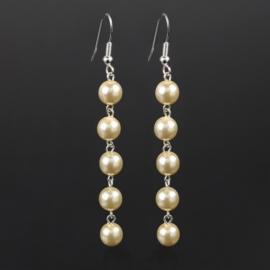 Kolczyki wiszące czeskie perła ecru 53/207 EA2864